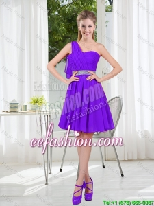Custom Made A Line One Shoulder Belt Short Bridesmaid Dress