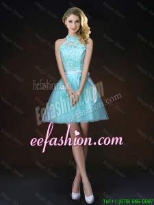 Elegant Halter Top Laced Bridesmaid Dresses with Appliques 2016