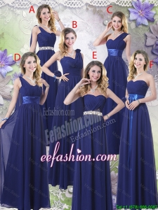 New Style Empire Floor Length Elegant Prom Dresses in Navy Blue