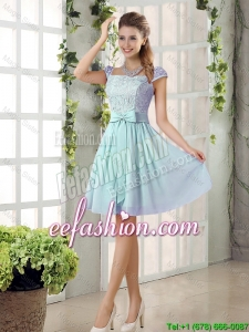 Perfect A Line Square Lace Prom Dresses with Bowknot