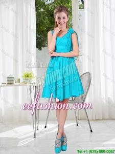 Short Straps Custom Made Prom Dresses in Aqua Blue