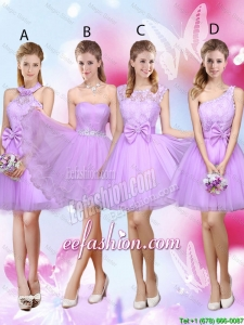 Sophisticated A Line Lavender Prom Dresses with Lace and Bowknot