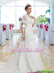 Best Selling V Neck Wedding Gowns with Short Sleeves for 2016