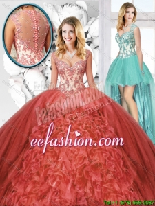 2016 Summer New Arrivals Straps Detachable Quinceanera Dresses in Rust Red