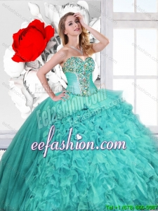 Classical Ruffles and Beaded Quinceanera Gowns in Turquoise