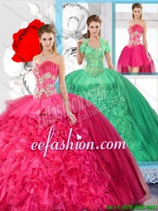 Hot Pink Affordable Detachable Sweet 16 Dresses with Beading