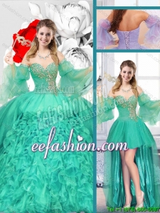 New Style Sweetheart Detachable Sweet 16 Gowns with Ruffles
