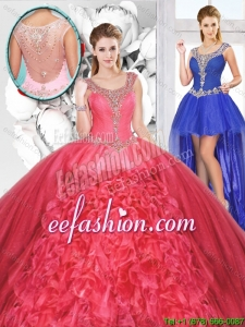 Popular Beaded and Ruffles Detachable Sweet 16 Dresses for 2016 Spring