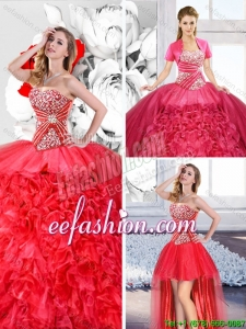 Red 2016 Spring Fashionable Detachable Sweet 16 Dresses with Ruffles