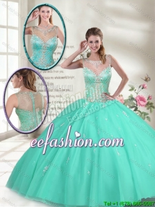 Summer Hot Sale Apple Green Sweet 16 Dresses with Beading
