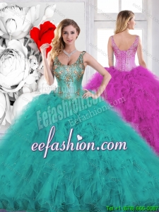 2016 Spring Gorgeous Beading Scoop Teal Sweet 16 Dresses with Ruffles