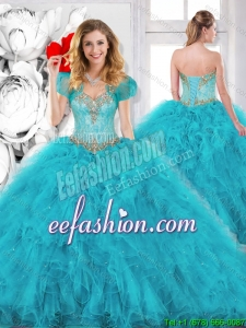 Modest Beading Sweetheart Quinceanera Dresses in Aqua Blue