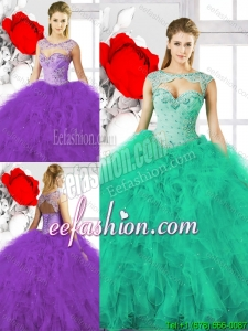 Pretty Beading Sweetheart Sweet 16 Dresses with Ruffles