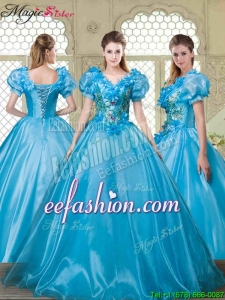 2016 Spring Gorgeous Appliques and Beading Quinceanera Dresses with V Neck