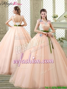 2016 Spring New Style Straps Quinceanera Dresses with Appliques and Belt