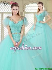 Exquisite V Neck Mint Quinceanera Dresses with Appliques