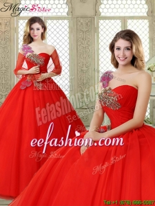 Hot Sale Appliques and Beading Quinceanera Dresses with One Shoulder