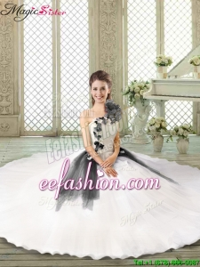 Popular Ruffles and Appliques Quinceanera Gowns with One Shoulder