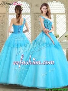 2016 Spring Beautiful One Shoulder Quinceanera Dresses with Lace and Appliques