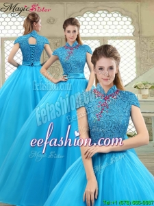 2016 Spring Fashionable High Neck Quinceanera Gowns in Baby Blue