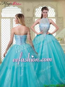 2016 Spring Popular Halter Top Quinceanera Dresses with Brush Train