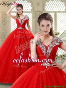 Exquisite Ball Gown Beading Quinceanera Dresses with V Neck