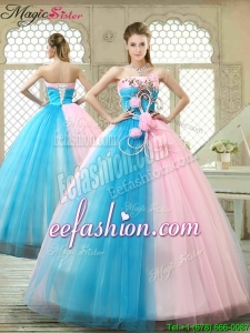 Fashionable Hand Made Flowers Quinceanera Gowns with Strapless