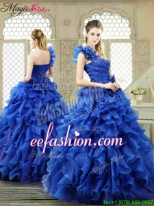New Arrivals One Shoulder Ruffles Quinceanera Gowns for 2016 Spring