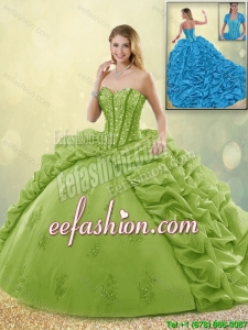 Beautiful Appliques and Pick Ups Sweet 16 Dresses with Brush Train