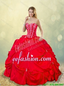 Cheap 2016 Beading and Pick Ups 2016 Detachable Quinceanera Gowns in Red