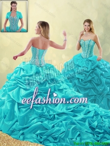 Cheap Beading and Pick Ups 2016 Detachable Quinceanera Gowns with Court Train