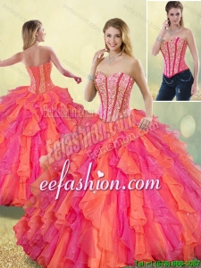 Cheap Beading and Ruffles 2016 Detachable Quinceanera Dresses in Multi Color