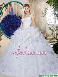 Elegant Brush Train Straps Quinceanera Dresses with Beading and Ruffles