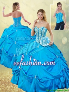 Elegant Sweetheart 2016 Detachable Quinceanera Dresses with Beading and Pick Ups