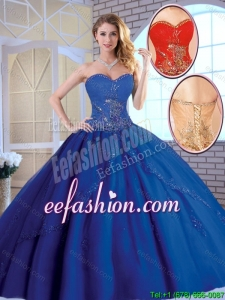 Exclusive Royal Blue 2016 Quinceanera Dresses with Appliques