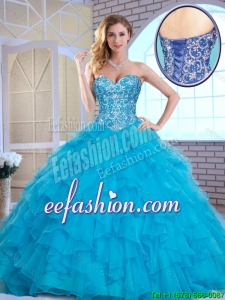 Exquisite Aqua Blue Sweet 16 Gowns with Beading and Ruffles