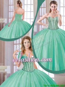 Fashionable 2016 Beading Quinceanera Dresses in Turquoise