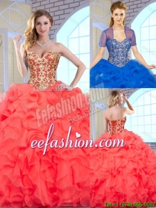 Fashionable Coral Red 2016 Quinceanera Gowns with Beading and Ruffles