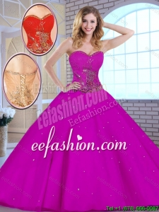 Hot Sale Appliques Fuchsia 2016 Quinceanera Dresses with Sweetheart