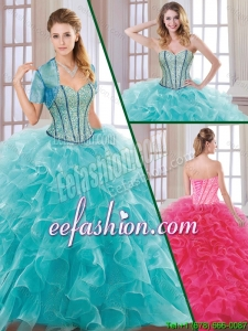 Hot Sale Beading and Ruffles 2016 Quinceanera Dresses with Sweetheart