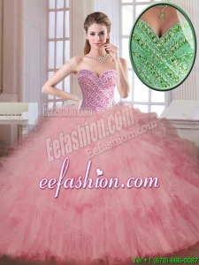 Luxurious Beading and Ruffles 2016 Quinceanera Dresses in Watermelon