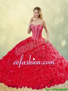 New Style Brush Train Rolling Flowers 2016 Quinceanera Dresses in Red