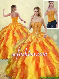 Perfect Multi Color Sweetheart Quinceanera Gowns with Beading