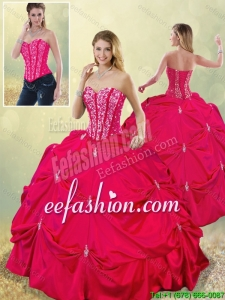 Perfect Sweetheart Beading Detachable 2016 Quinceanera Gowns in Hot Pink