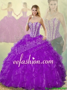 Popular Beading Purple 2016 Quinceanera Gowns with Sweetheart