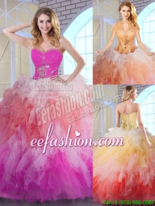Popular Multi Color Quinceanera Gowns with Appliques and Ruffles