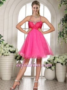 Beaded Halter Spaghetti Straps Knee Length Hot Pink Prom Dress