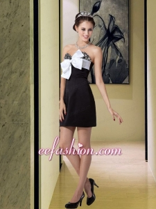 Beautiful Black Sweetheart Cocktail Dress with Beading and Bowknot