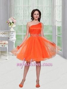 Gorgeous Orange One Shoulder Beading Organza Homecoming Dress