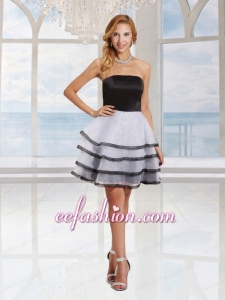 Lovely A Line Strapless Black and White Cocktail Dress With Ruffled Layers